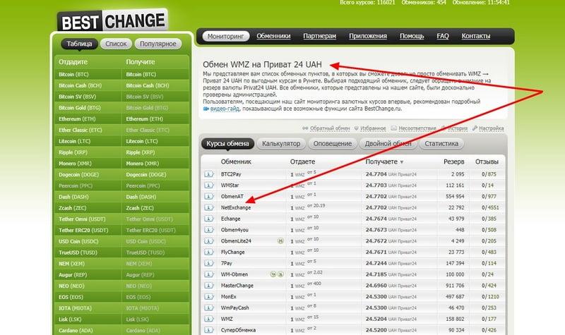 Bestchange обмен WMZ на Privat24 UAH